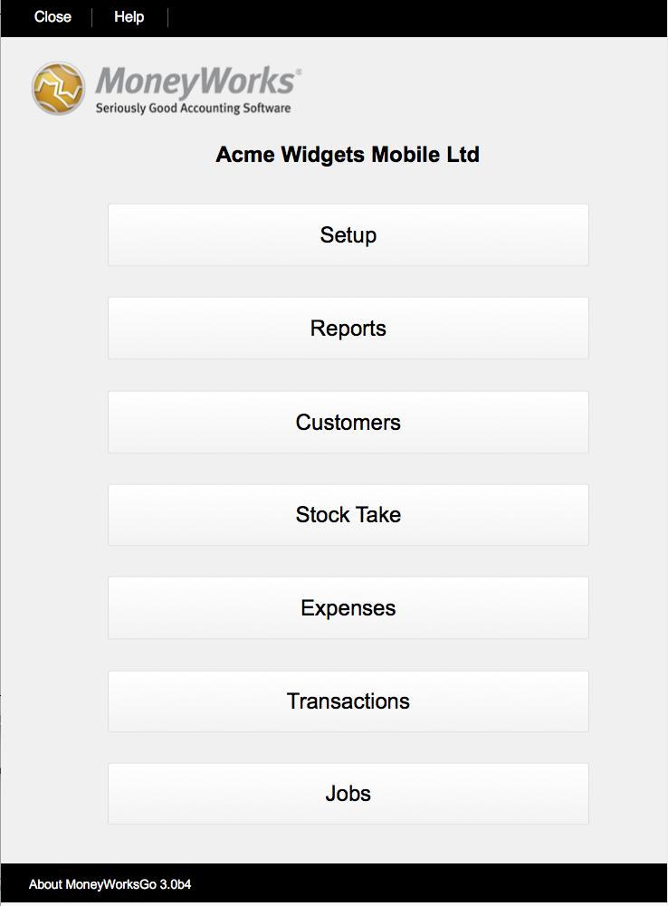 MoneyWorksGo Home screen